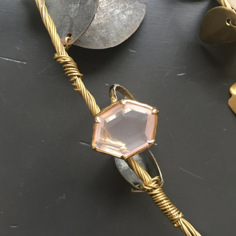 Sous le sable Collection Jaïpur Bague Damier Quartz rose