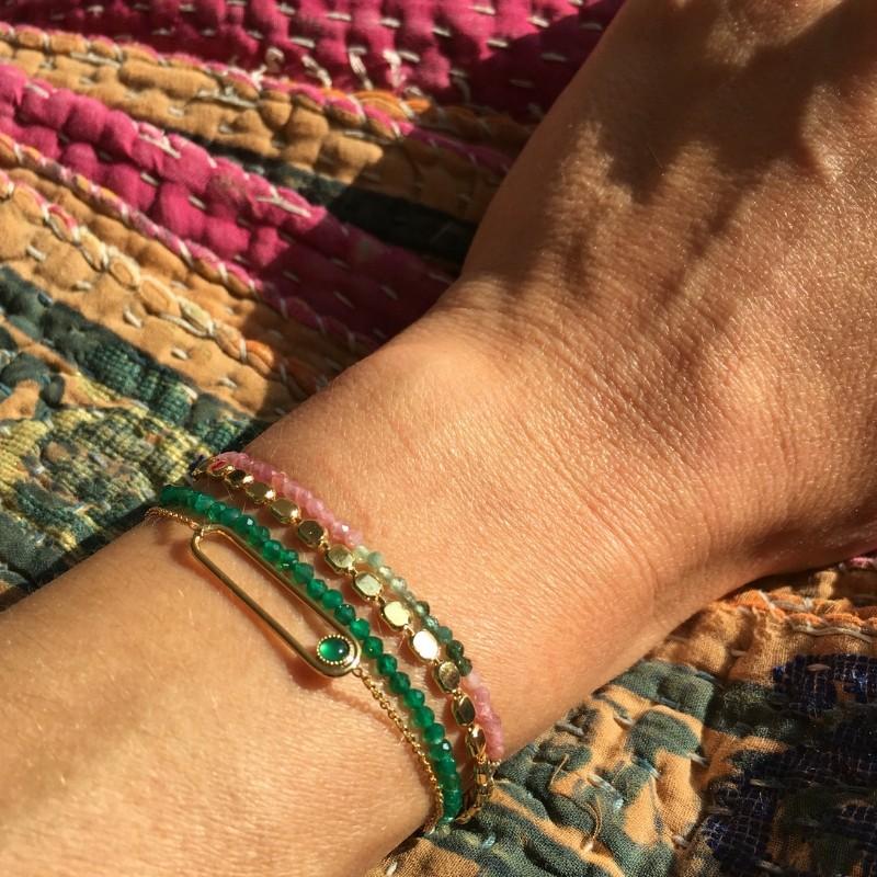 Bracelet Plaqué or et agate verte